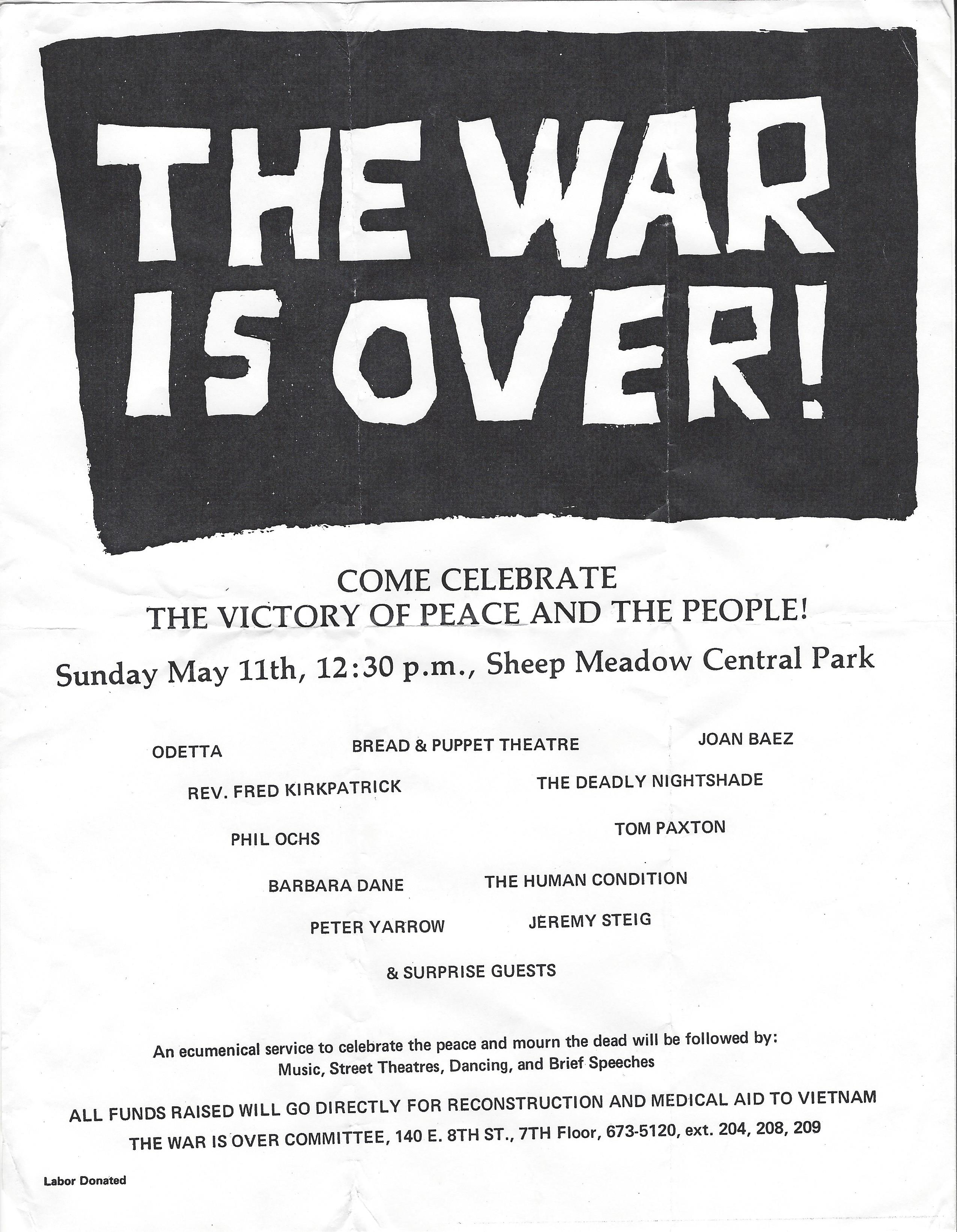 The War Is Over leaflet