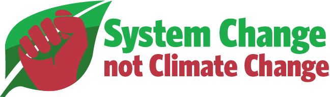 System Change Not Climate Change Logo